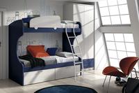 Literas 2 camas con cajones azul colbato y blanco. Una imagen de limpieza en la habitación de sus hijos. Marina.