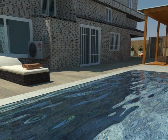 Diseños 3D piscina y jardin madrid
