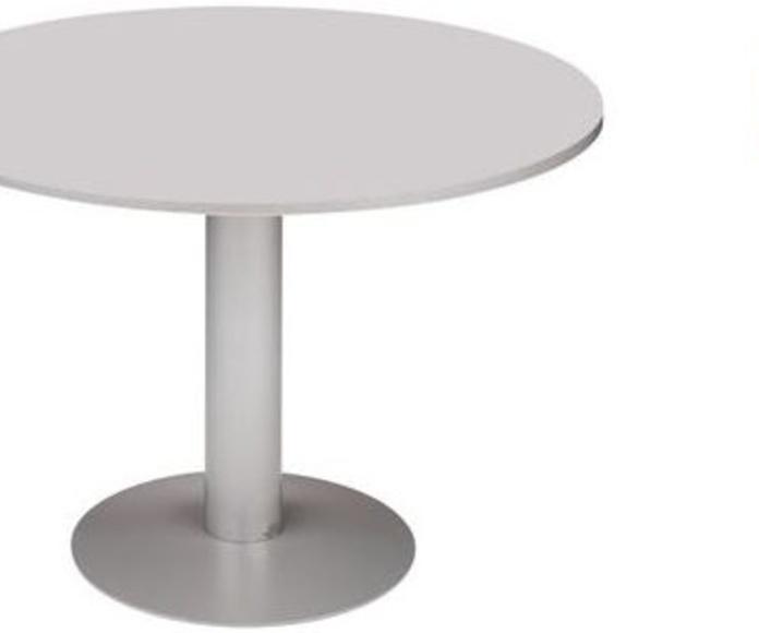mesa redonda color gris con pie matálico color aluminio
