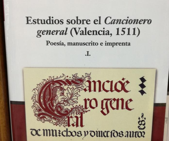 Estudios sobre el Cancionero general (Valencia, 1511): SECCIONES de Librería Nueva Plaza Universitaria