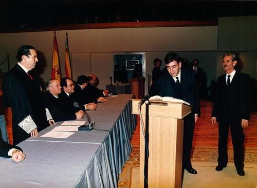 Jura de Don Miguel Ángel Máñez Castellano, siendo padrino Don Fidel Máñez Ramón.