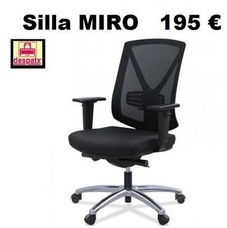 Silla MIRÓ de respaldo medi de malla, sincro+brazos regulables a 195 €