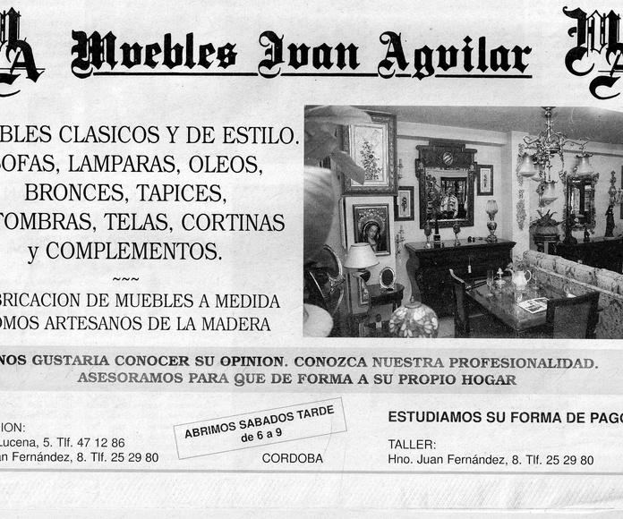 """Anuncio """"Muebles Juan Aguilar"""" Diario Córdoba Marzo 1997"""