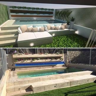 Proyecto de piscina de obra a través de un diseño en 3D