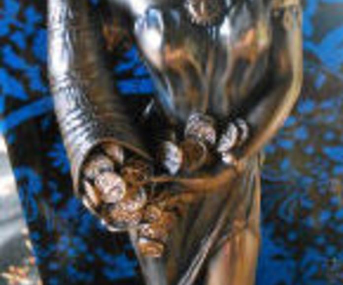Diosa de la Fortuna, Figura de resina, pintada en dorados y oro, negocios, dinero