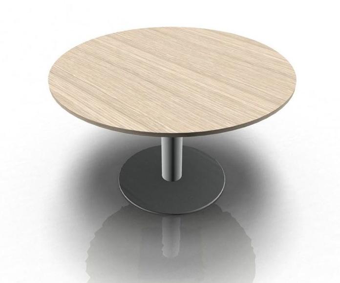mesa de reuniones en color Roble y pie metálico color aluminio