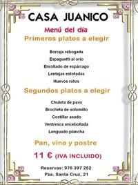 Menú del día: Catálogo de Casa Juanico Bar - Restaurante