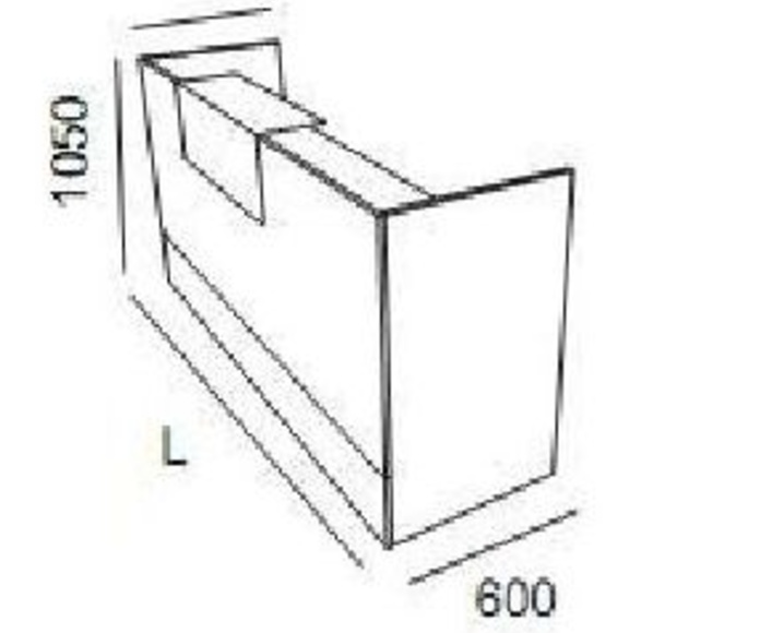 medidas del mostrador económico.Longitudes:120-140-160-180 cm.