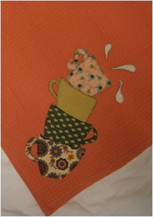 Trapo de cocina modelo tazas de patchwork kit cat logo - Trapo de cocina ...