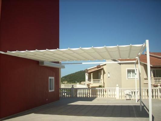 Pergola con entoldado sistema patio andaluz cat logo de for Sistema para toldos