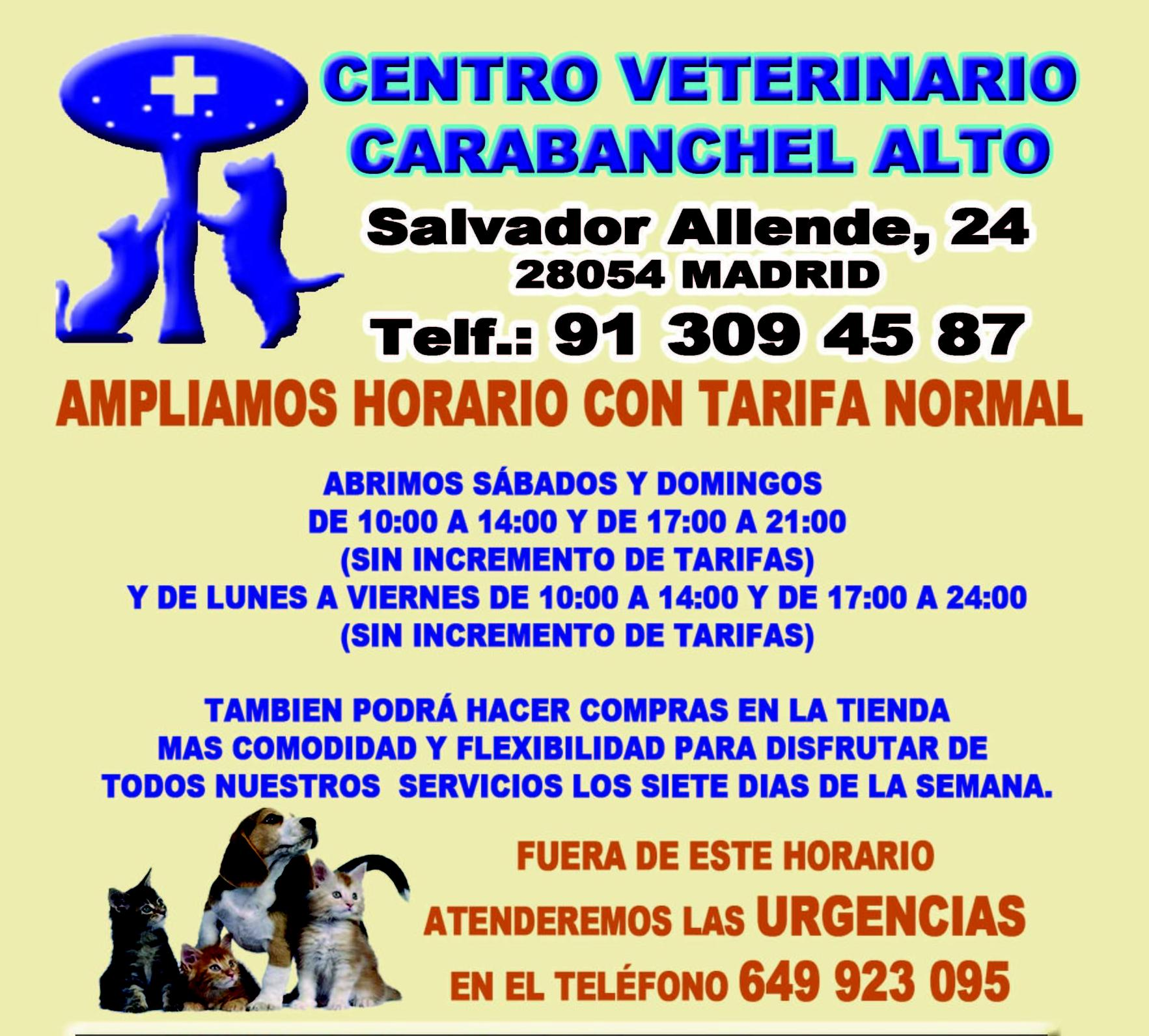 ATENCIÓN 24 HORAS: Especialidades de Centro Veterinario Carabanchel Alto