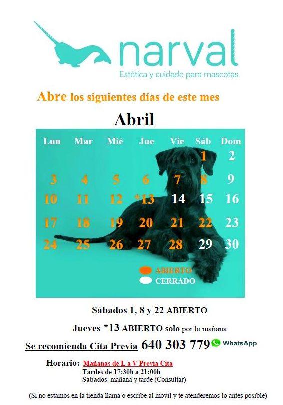 Calendario narval mascotas abril 17