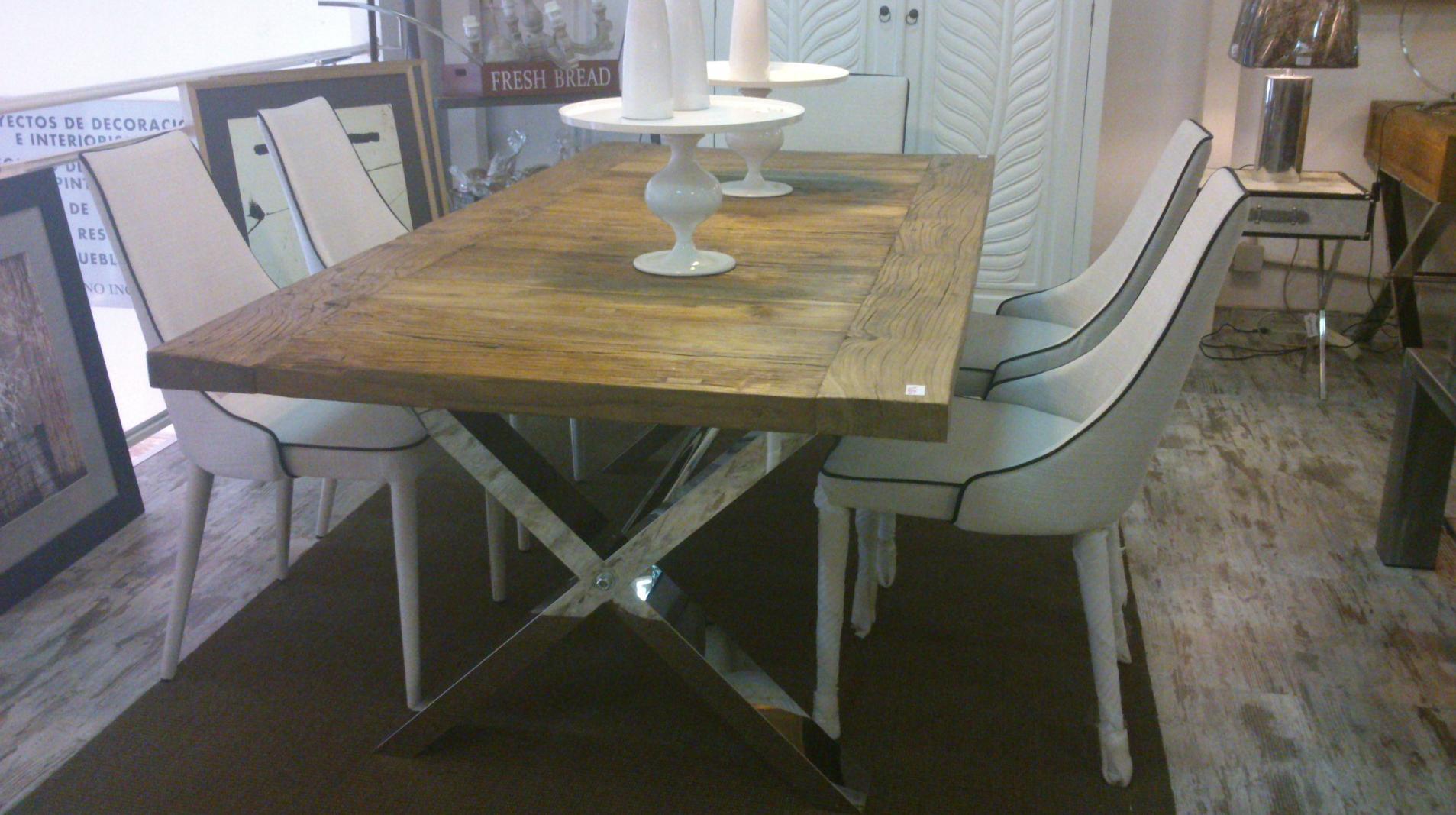Mesa aspas en madera reciclada cat logo de casa nativa for Puertas con madera reciclada