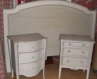 Cabecero madera en gris y blanco roto cat logo de ste for Cabecero cama 90 blanco