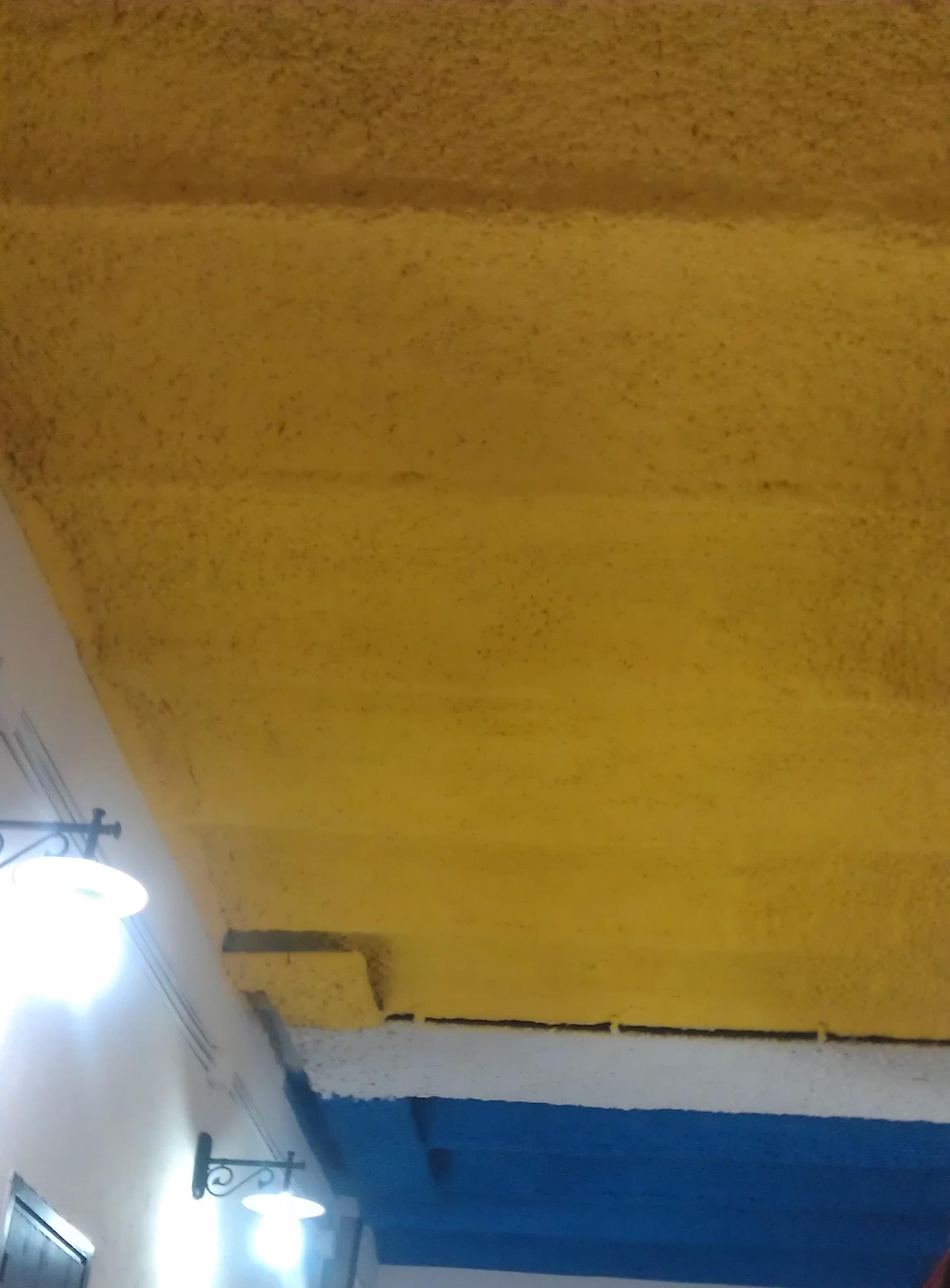 mortero ignífugo pintado