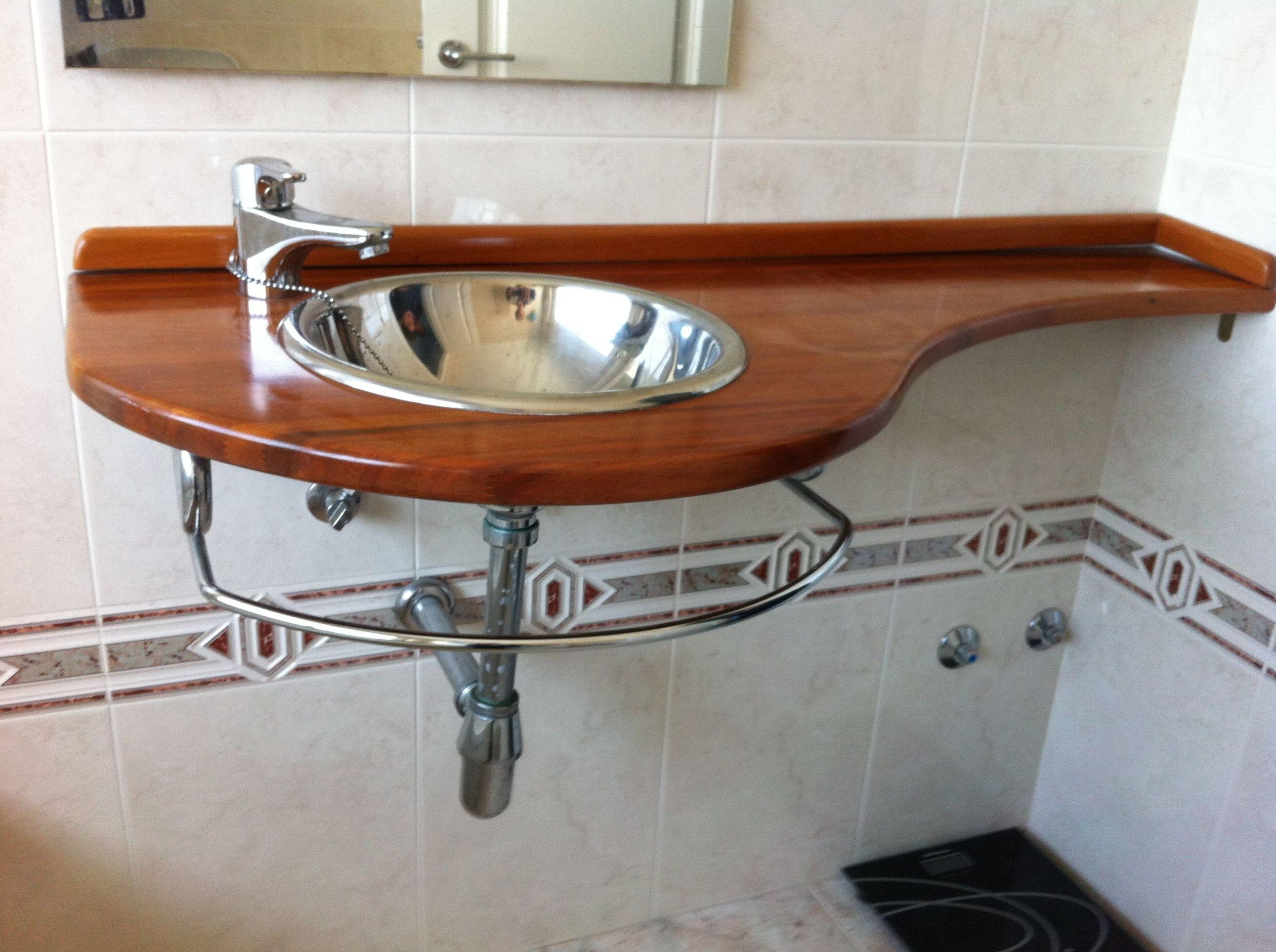 encimera madera para lavabo