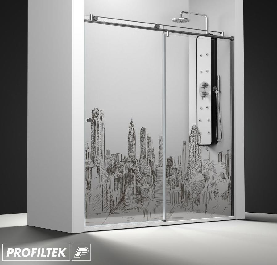 Medidas Baño De Servicio:Mampara de baño a medida Profiltek serie Steel modelo ST-210 Light