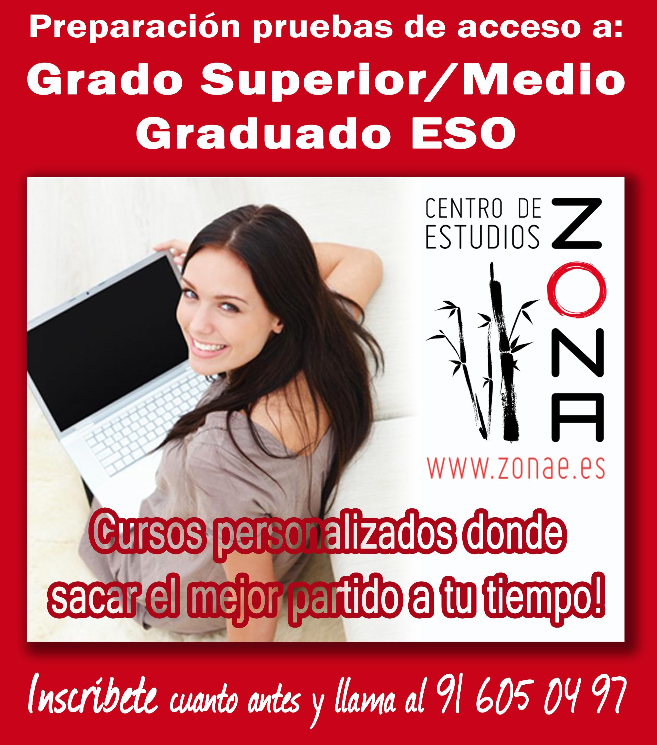 Cursos preparación pruebas libres de Grado Superior/Medio, ESO, etc...: Cursos de Centro de estudios Zona