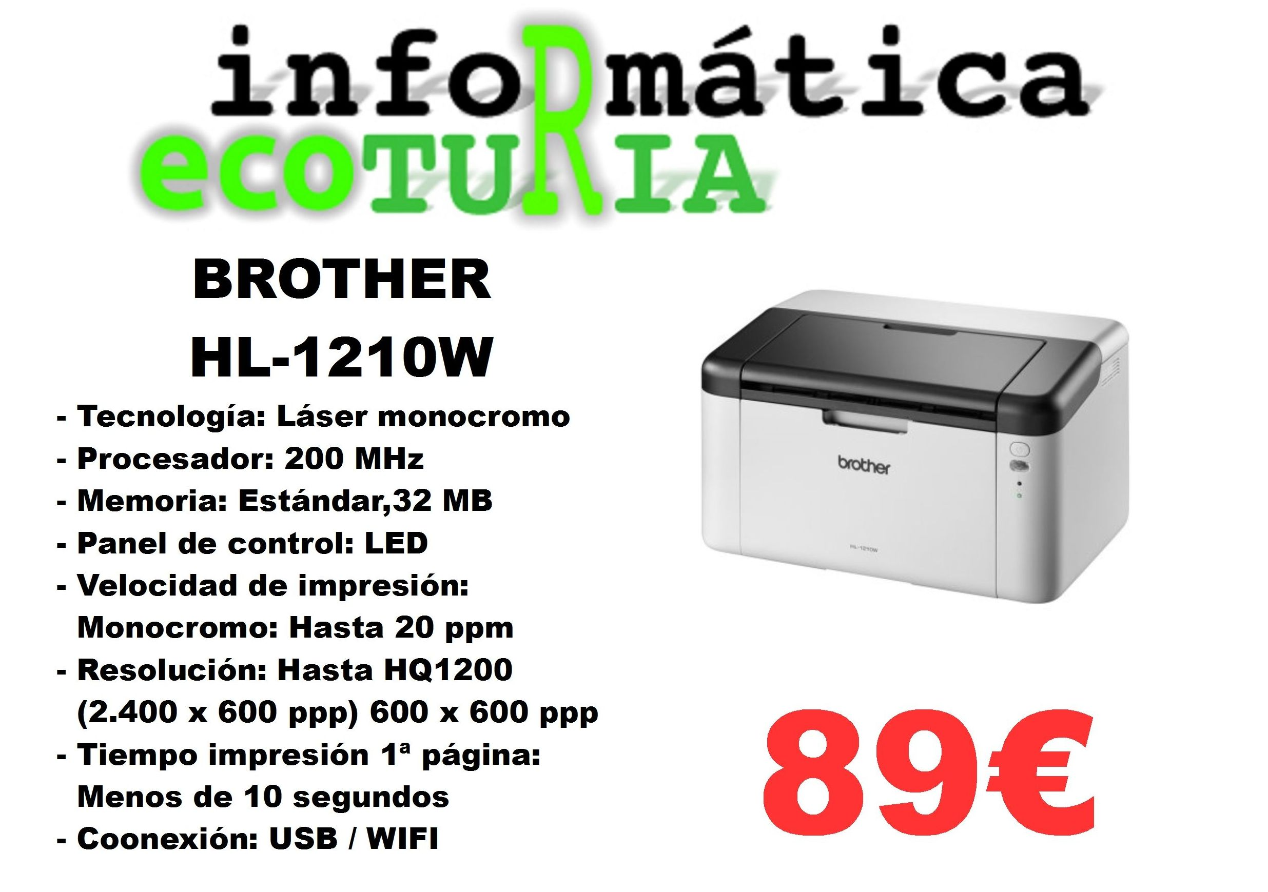 Impresora Laser Monocromo Brother HL-1210W