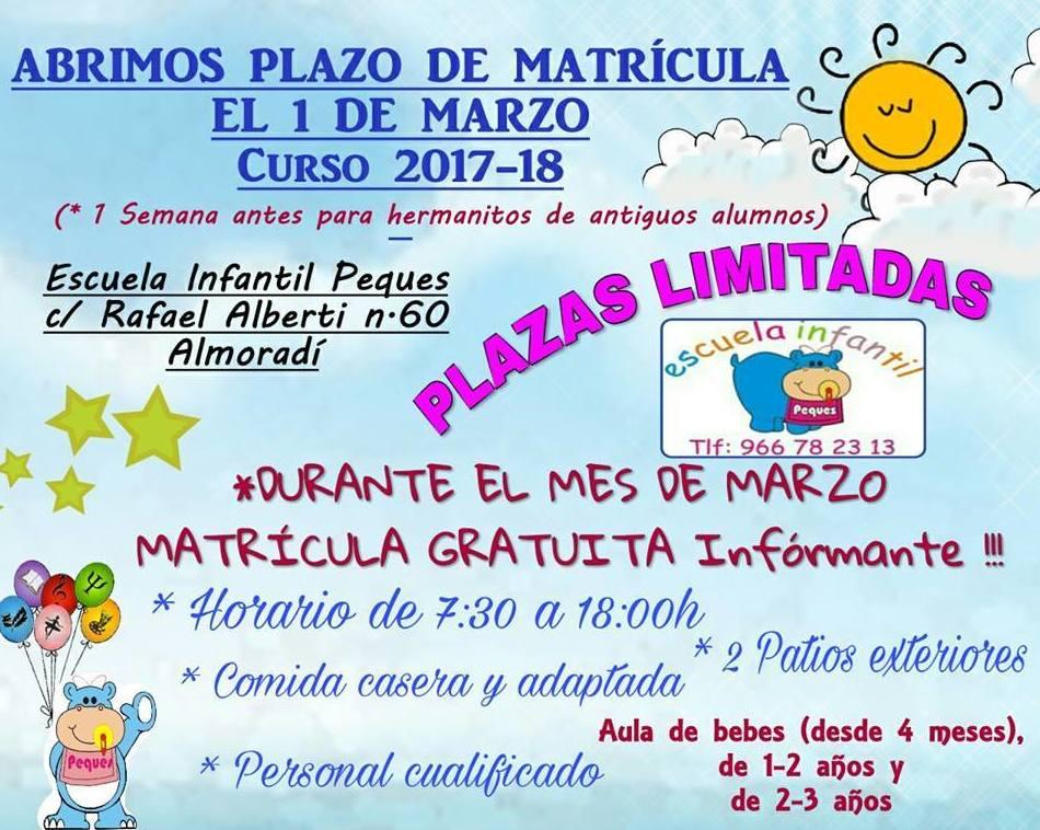 ABRIMOS PLAZO DE MATRICULA 2017/18!!!!
