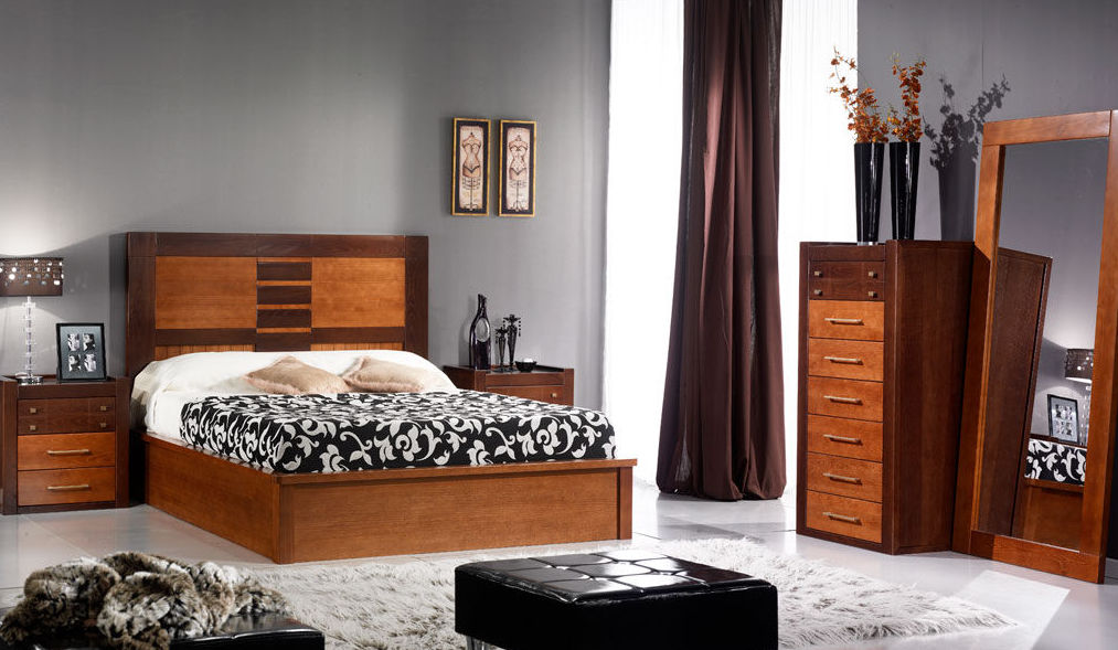 dormitorio en castao macizo con canape de madera