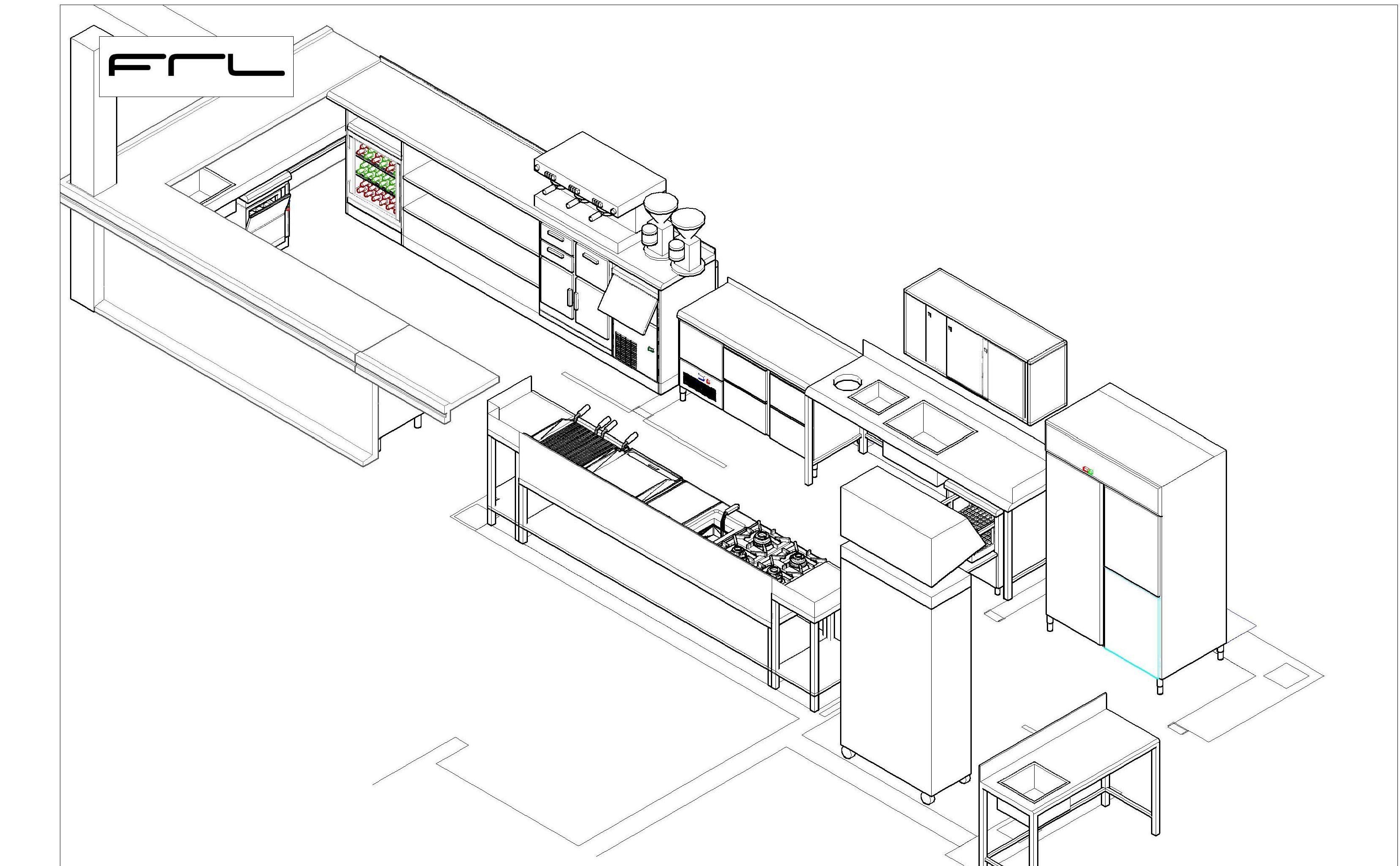 Dise amos tu espacio de trabajo cat logo de frl for Planos de cocina industrial