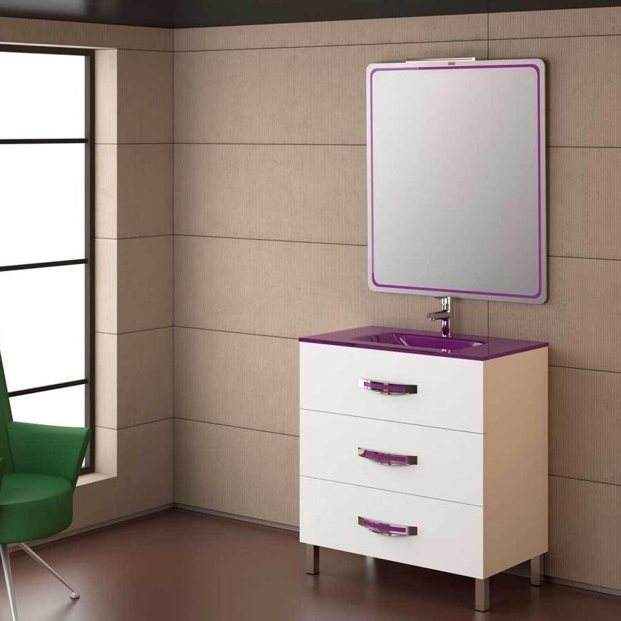 Mueble ba o garona blanco berenjena de 80 servicios y for Encimera blanco cristal