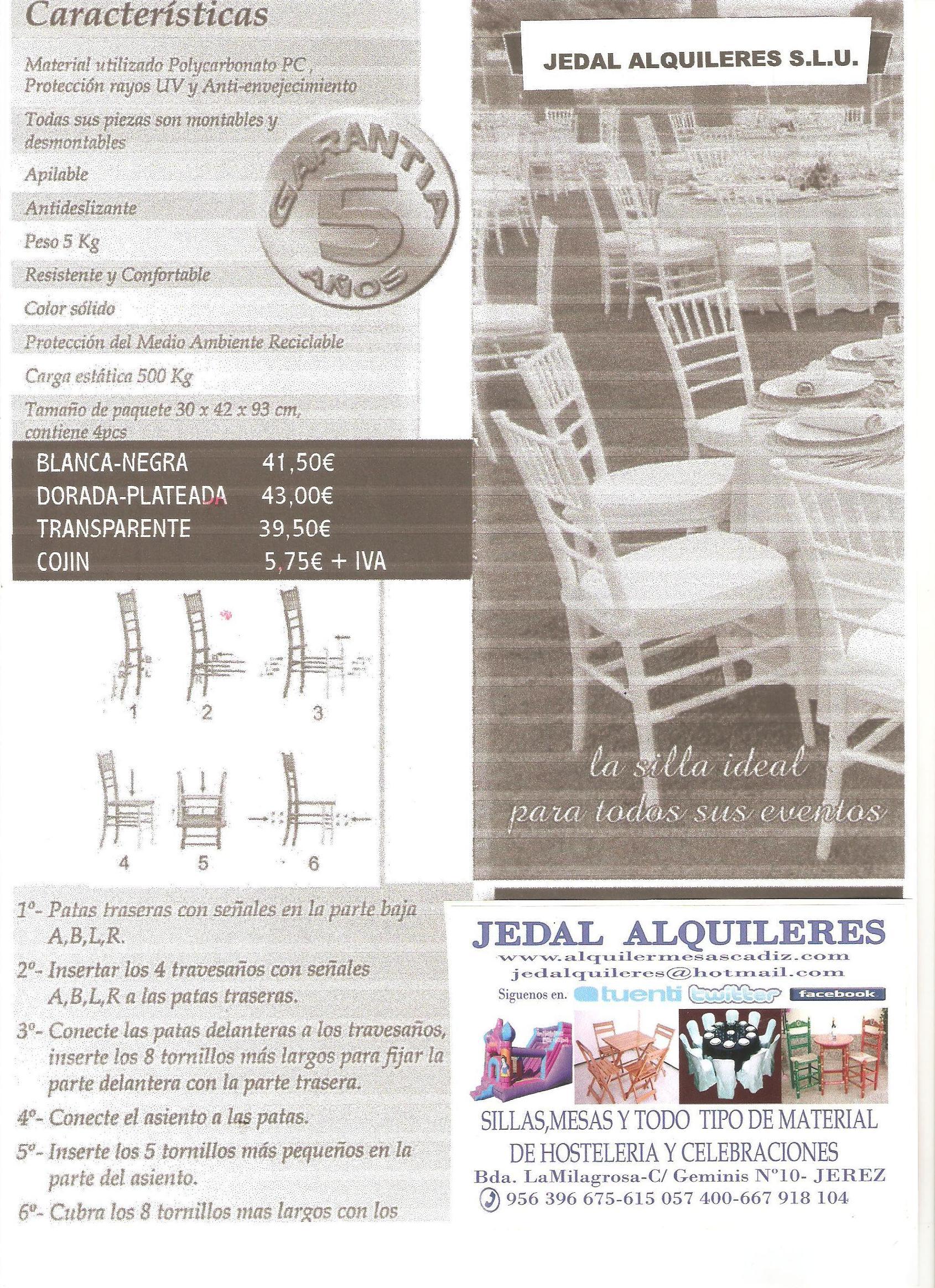 JEDAL ALQUILERES S.L.U. VENTA: Catálogo de Jedal Alquileres