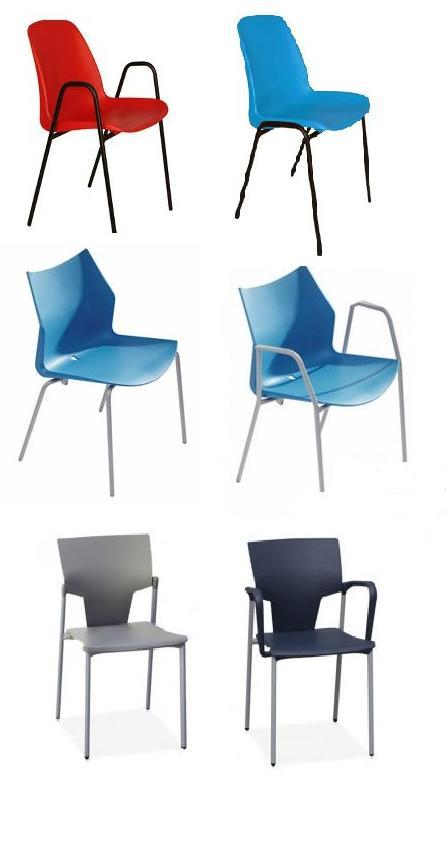 sillas en pvc apilables en diferentes formas