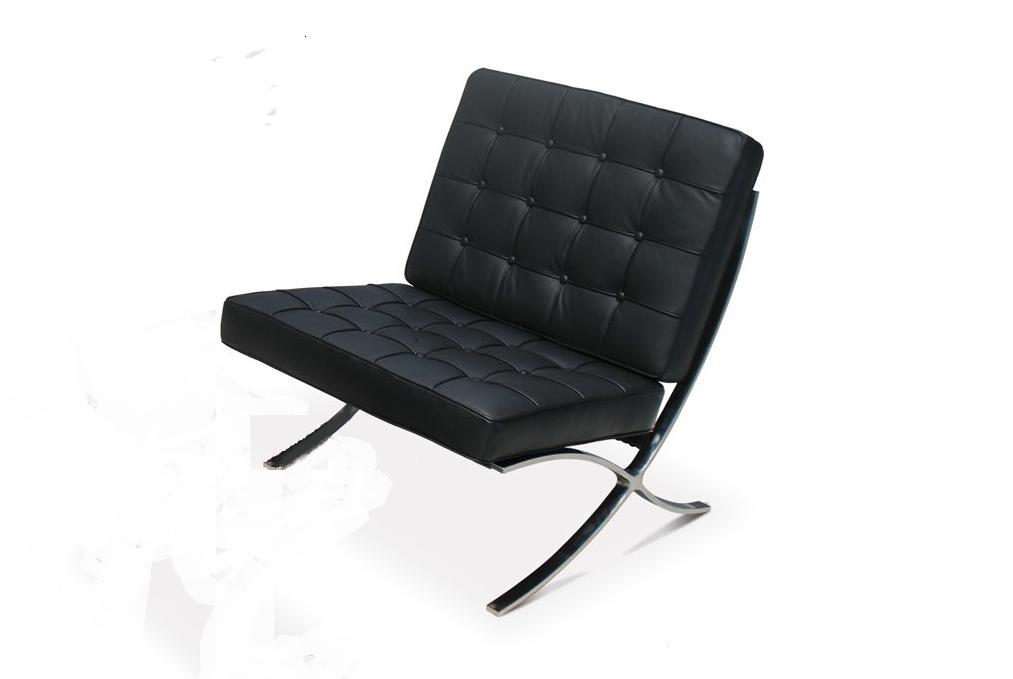 Replica de sof barcelona en piel blanca o negra de una for Sofas de piel en barcelona