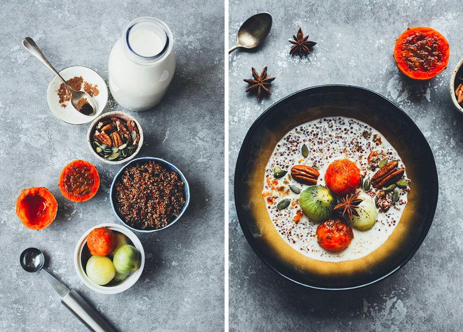 Porridge de quinoa con leche de almendras casera y bolitas de fruta