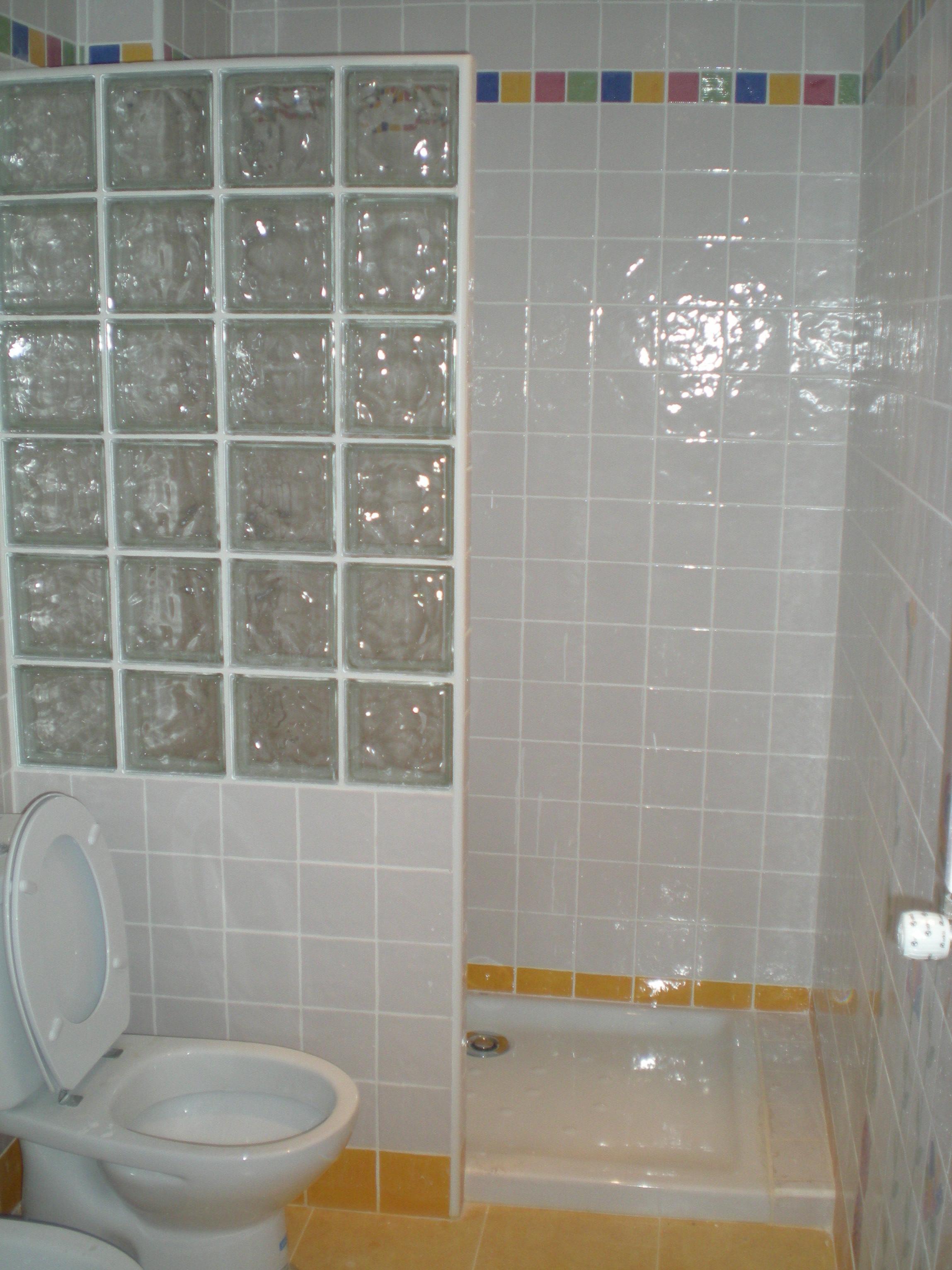 Mampara de ducha mixta reformas integrales de alfonseca - Ladrillo de cristal ...
