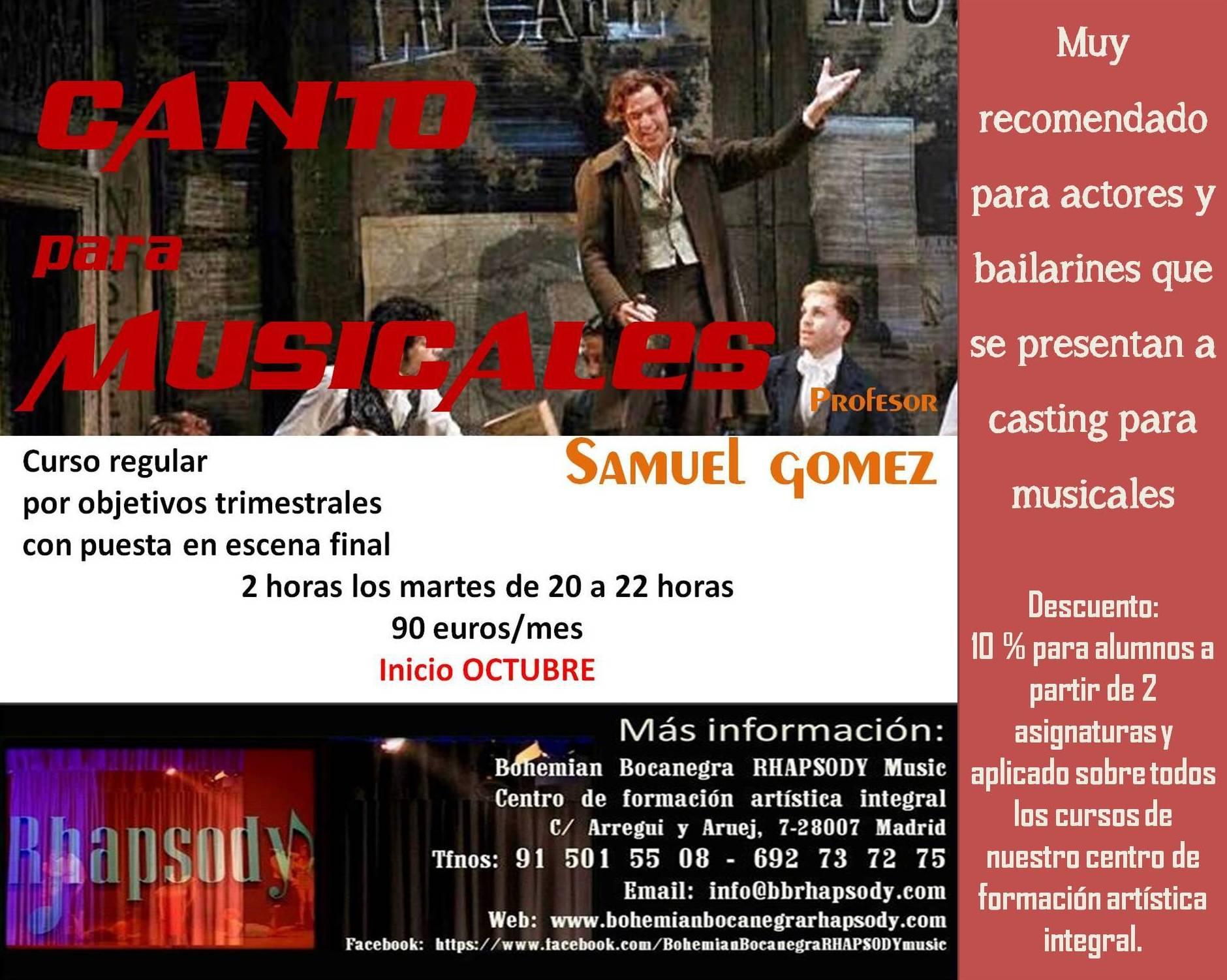 CANTO PARA MUSICALES con SAMUEL GOMEZ