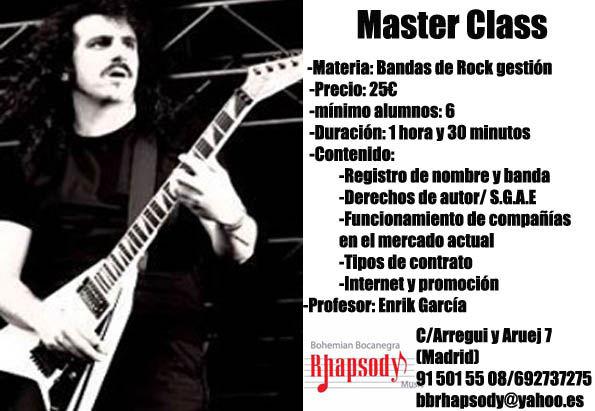 MASTER CLASS: GESTIÓN DE BANDAS DE ROCK