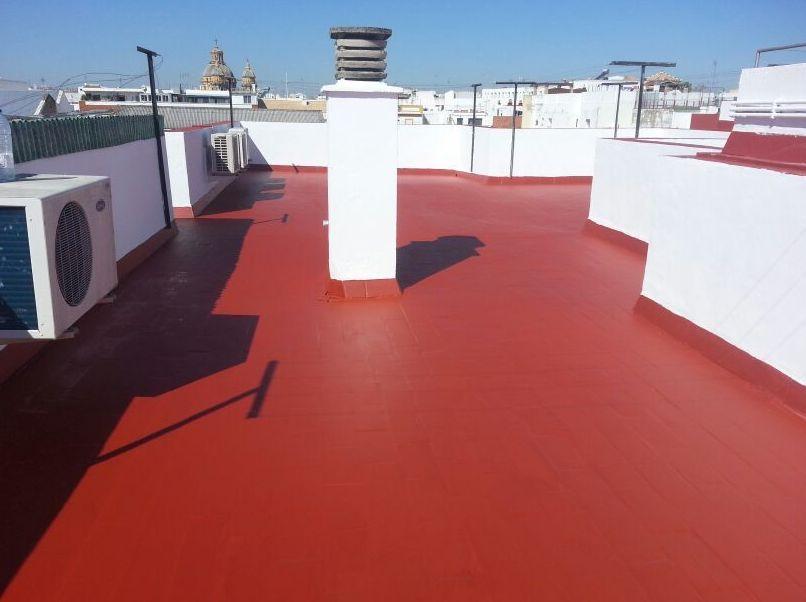 Trabajos de impermeabilización y pintura de cubiertas y terrazas