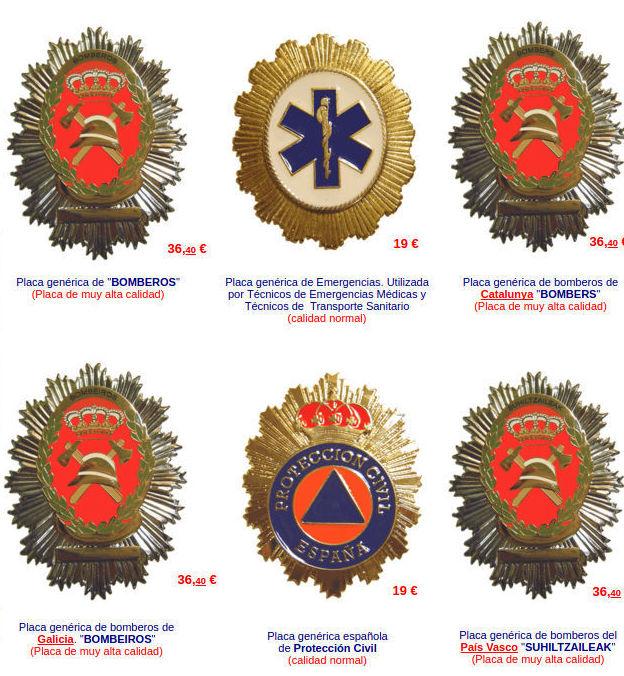 Insignias de bomberos y emergencias