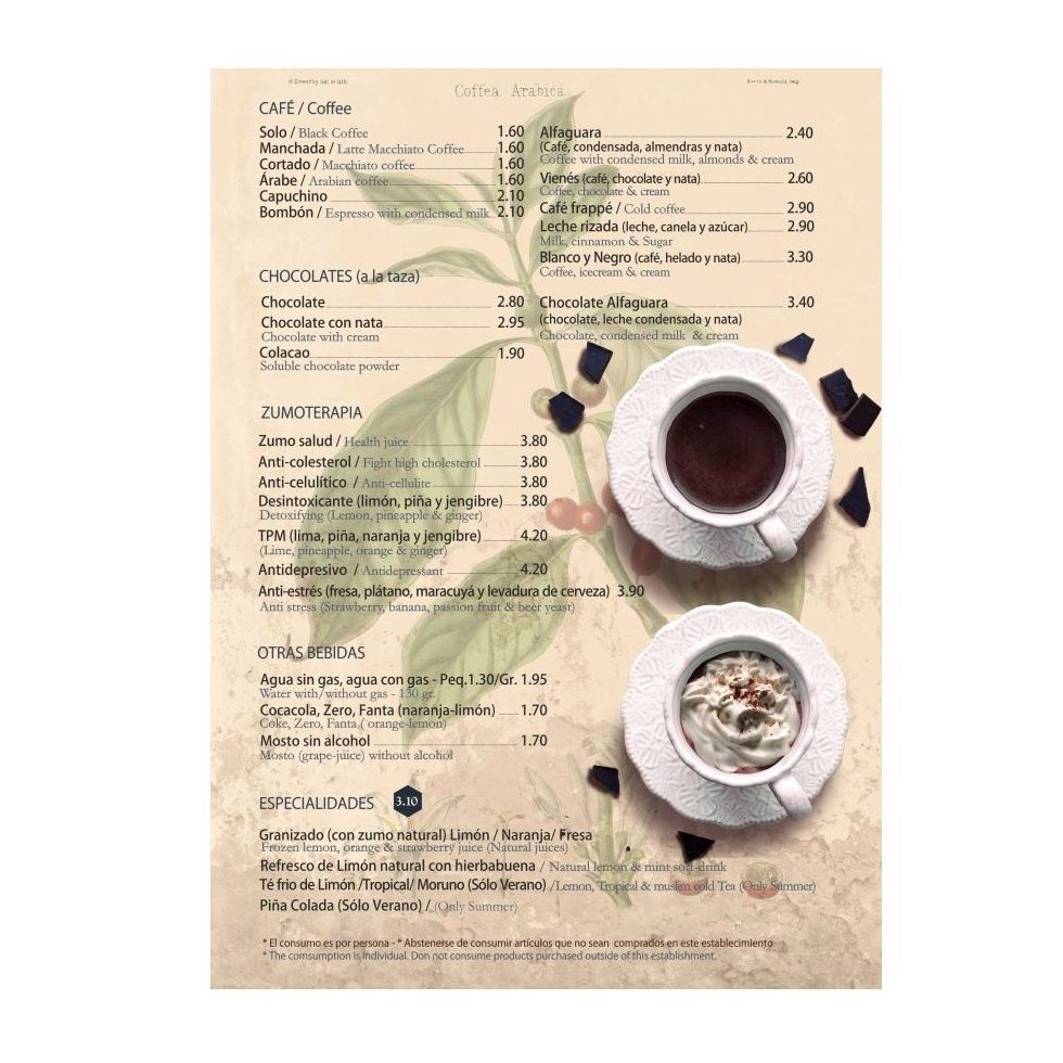 Café - Chocolate - Bebidas: Carta de Tetería Alfaguara