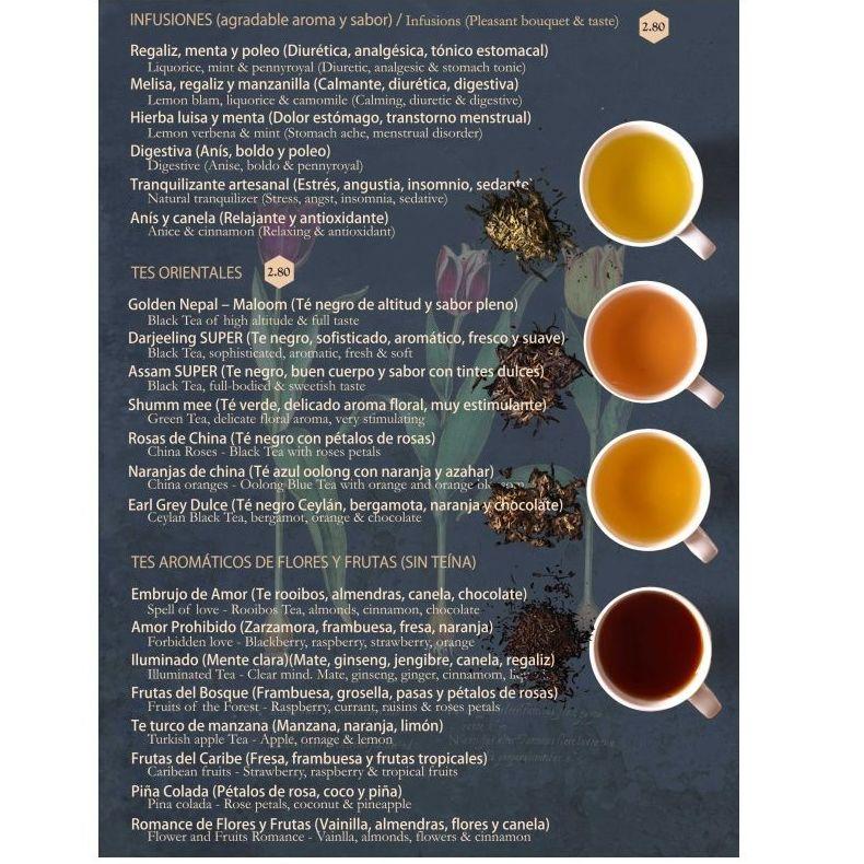 Infusiones / Tés orientales / Tés aromáticos: Carta de Tetería Alfaguara