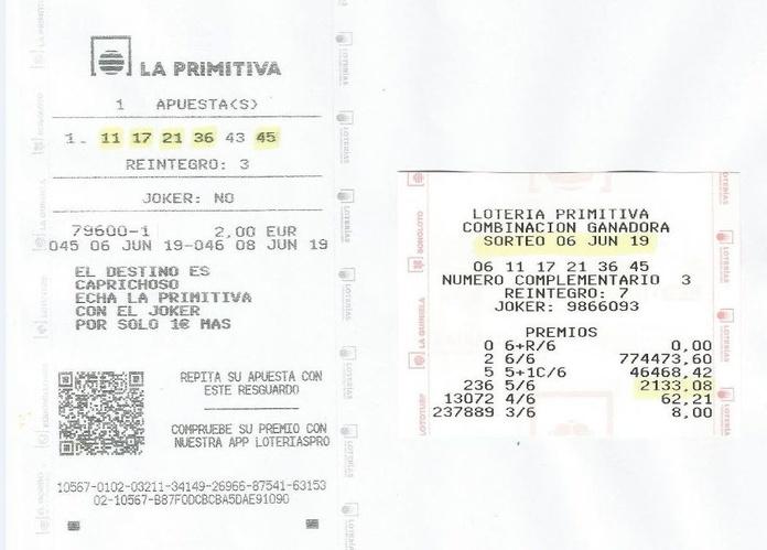 Premio sorteo de primitiva 5 Aciertos sabado 06/06/2019
