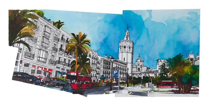 Ilustración del Ayuntamiento de Valencia by Alba Solaz
