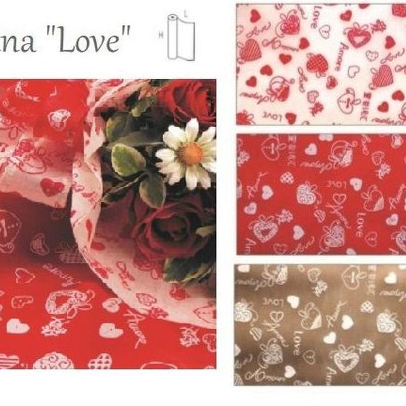 "BOBINA TEXTIL (POLIESTER) MODELO ""Love"" 530MM x 9MT (COL. 01 BLANCO, 07 ROJO y 15 MARRON) REF: 0354 PRECIO: 5,65€"