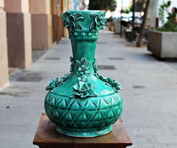 Jarrón de cerámica de Manises años 60