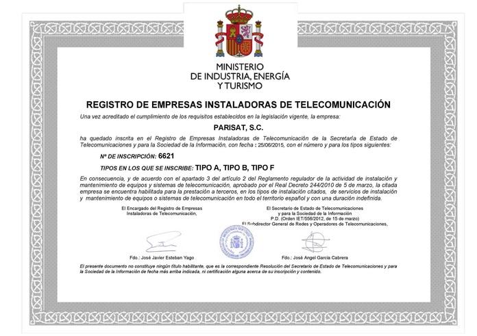 Empresa de Telecomunicaciones Inscrita en el Registro con la Categoría F