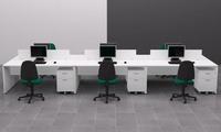 Conjunto de mesas con bucs ruedas y separadores en color Blanco
