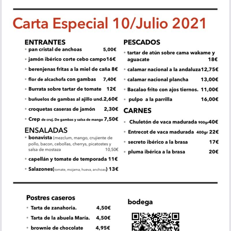 Carta: Carta, Menús y Bodega de Restaurante Bonavista (Club de Campo Elche)