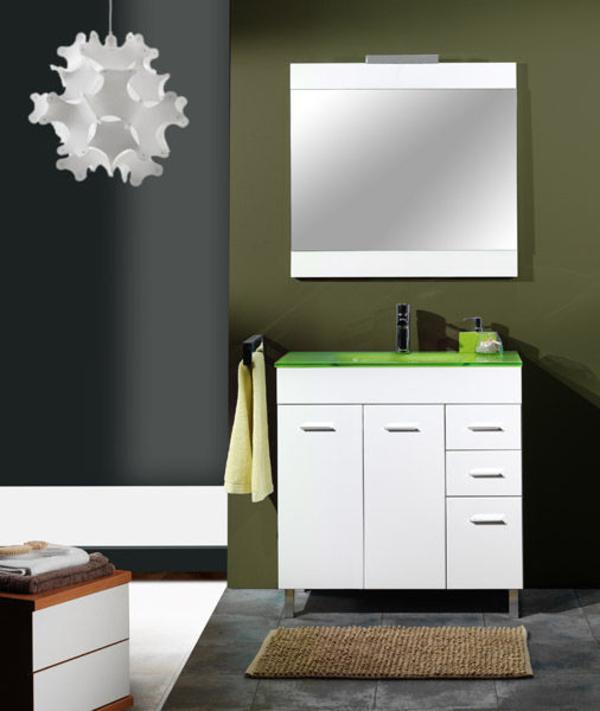 Mueble Tajo blanco de 80 con encimera cristal pistacho, espejo y foco