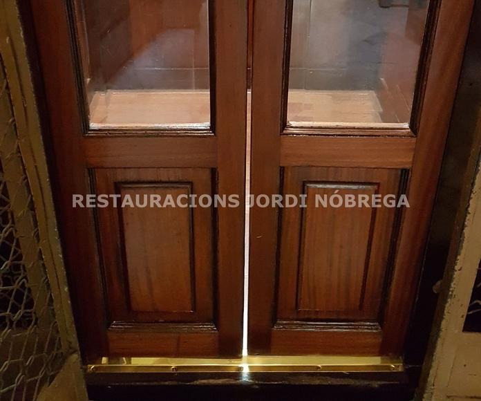 Restauración de cabinas de ascensor en Barcelona. Restauracions Jordi Nóbrega