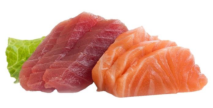 sashimi salmón y atún (6 piezas/ 10 piezas)  7,50€/13,00€: Carta de Restaurante Sowu
