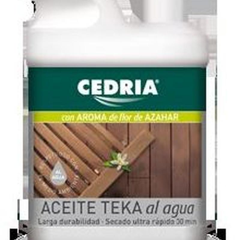 ACEITE TEKA AL AGUA CEDRIA  en tienda de pinturas en ventas.