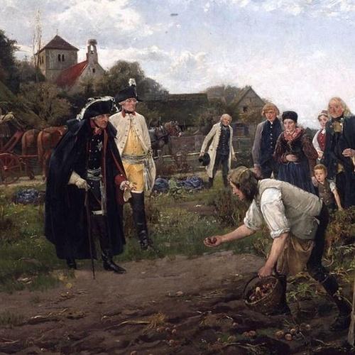 Federico el Gr. inspecciona la cosecha de patatas en Neustettin-Polonia